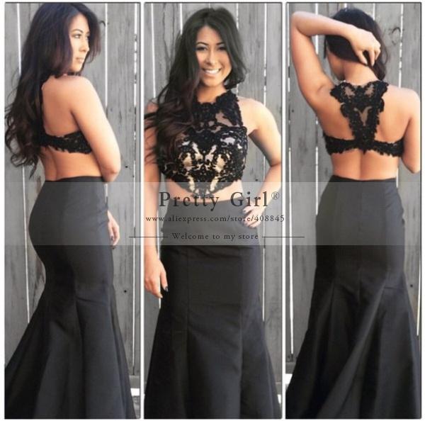 Long Black High Low Prom Dress