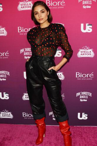 blouse polka dots see through see through top olivia culpo red boots pants ny fashion week 2017 nyfw 2017