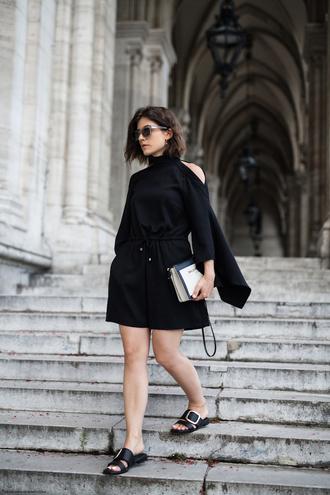 viennawedekind blogger jumpsuit bag shoes sandals black jumpsuit