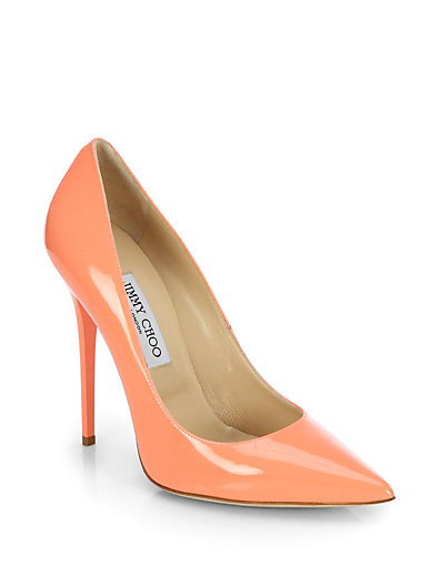 Jimmy Choo - Anouk Patent Leather Point-Toe Pumps - Saks.com