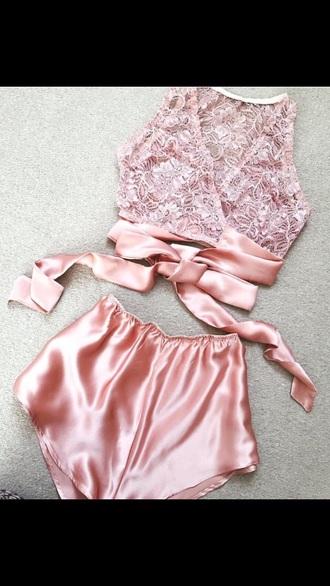 underwear satin pastel lingerie lingerie set pink no brand silk