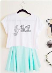 t-shirt,white top,tiffany blue,skater skirt