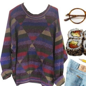 sweater tumblr sweater grunge triangle pattern triangle tumblr tumblr grunge aesthetic 90s style 90s grunge 90s vintage 90's sweatshirt oversized sweater knit knit sweaters 80s style 70s style retro retro sweater please help me find it vintage knitted sweater cute