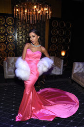 pink,pink dress,strapless,strapless dress,bustier,bustier dress,gown,prom dress,long prom dress,mtv movie awards,red carpet dress,red carpet,ariana grande