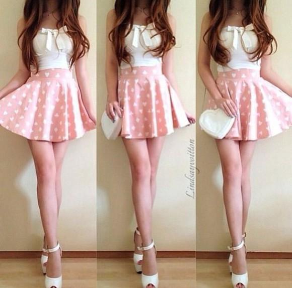 heart hearts skirt pastel skirt pastel pink skirt ariana grande inspired pastel pastel pink pink skirt