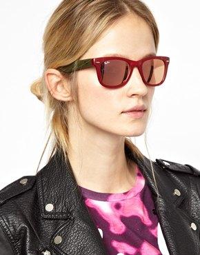 Ray-Ban   Ray-Ban Foldable Mirrored Wayfarer Sunglasses at ASOS