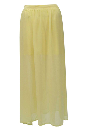 Womens Shelby Chiffon Long Maxi Skirt in Lemon | Pop Couture