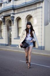 pale division,blogger,bag,peep toe,denim shorts,beige