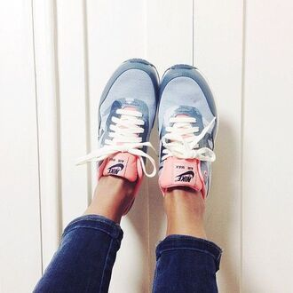 shoes nike nike sneakers sneakers trendy basket blue pink saumon nike shoes