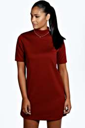 Bianca turtle neck textured shift dress
