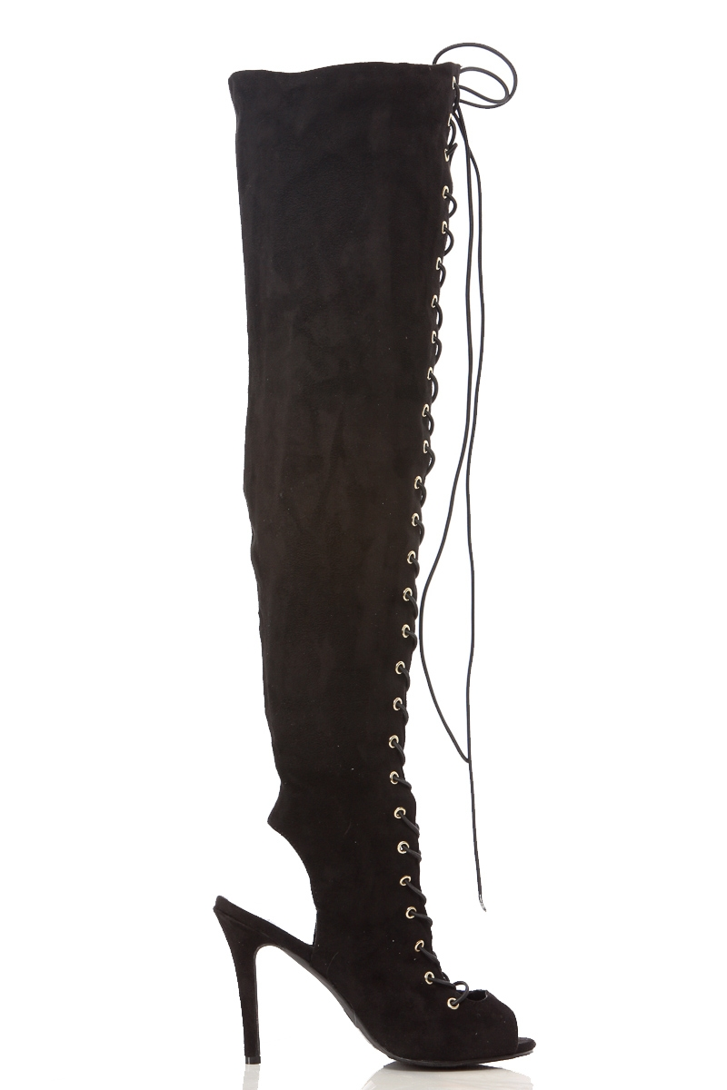 255c6640394 Black Faux Suede Lace Up Thigh High Peep Toe Boots @ Cicihot Boots  Catalog:women's winter boots,leather thigh high boots,black platform knee  high ...