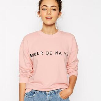 sweater quote on it amour de ma vie french pink sweater pink