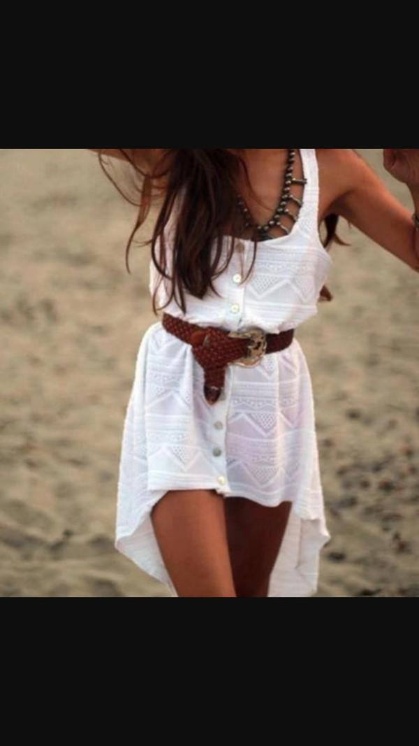 dress tribal pattern dress brown belt necklace belt white dress high low dress belted dress waist belt beach summer dress tribal pattern boho jewelry button up medium-size belt short dress summer