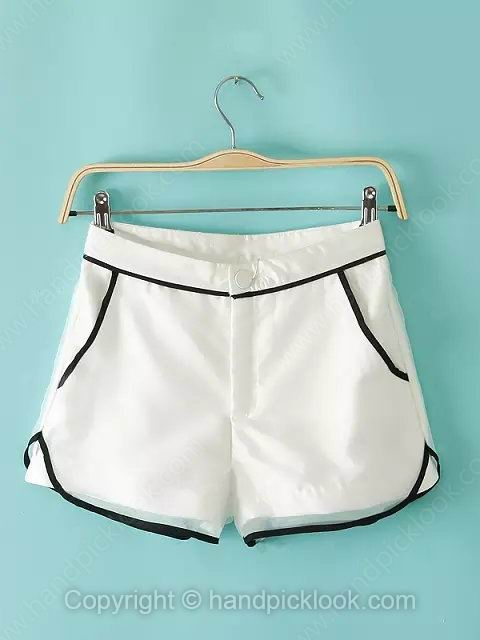 White Button Fly Loose Shorts - HandpickLook.com