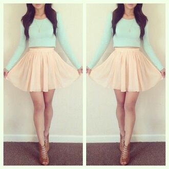 skirt baby blue baby pink skirt peach skirt skirts and tops skater skirt sweater cropped sweater blouse jacket