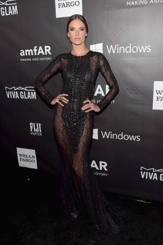 black dress prom dress maxi dress gown alessandra ambrosio