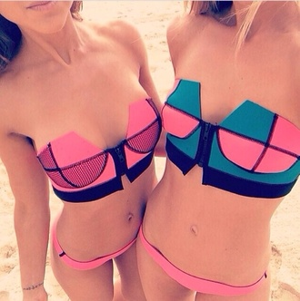 swimwear pink black bikini hipster bikini