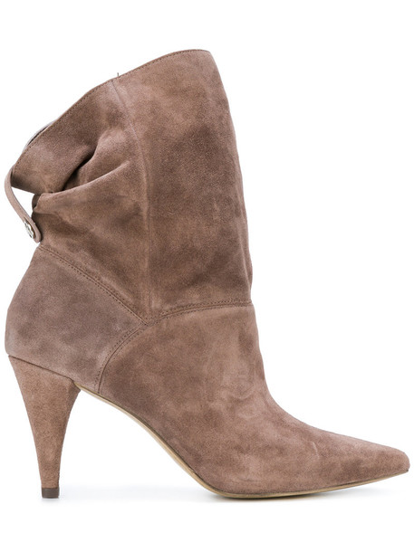 women ankle boots leather suede grey shoes