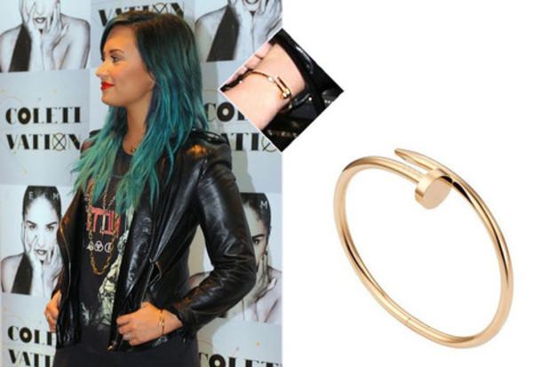 jewels juste un clou demi lovato gold bracelet bent nail bracelet nail bracelet