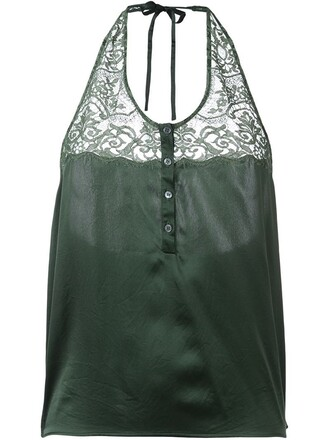 top lace top lace satin green