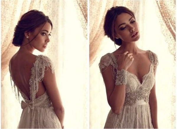 lace dress lace wedding dress wedding dress vintage dress sequins sequin dress dress anna cambell ivory french romance long bohemian anna campbell ivory dress embellished long dress boho dress long prom dress white dress creme dress pearl dress exquisite epaulette a line dress sweetheart dress