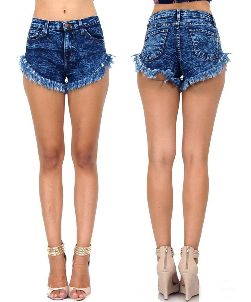 High Waist Acid Wash Denim Frayed Dark Wash 11087 Shorts