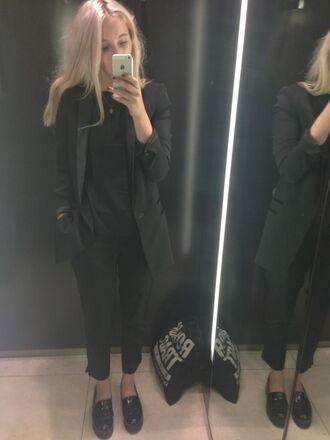 jacket suit pants shoes jumper work clothes smart clothes office outfits shoes black grunge flat black blazer