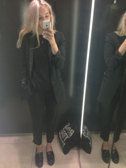 clothes shoes jumper jacket uk suit pants smart work outfit shoes black grunge flat black blazer