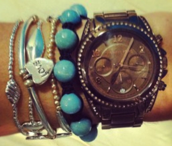 jewels friendship bracelet blue bracelet love heart bracelets shamballa michael kors watch arm candy
