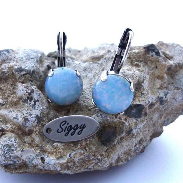 jewels siggy jewelry drop earrings blue opal opal earrings blue opal style boho chic shabby chic cute pantone pantone 2016 pantone color blue accessory trendy fashion etsy shopping etsy shop shop local trendy