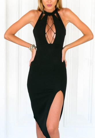 dress girl bodycon dress bodycon black black dress cut-out sleeveless sleeveless dress side split slit dress