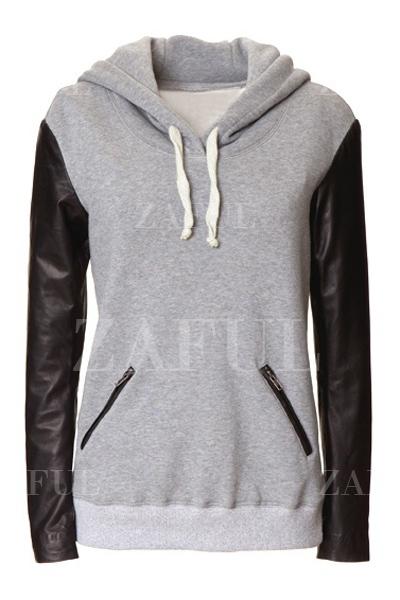 Hooded Faux Leather Sleeve Hoodie