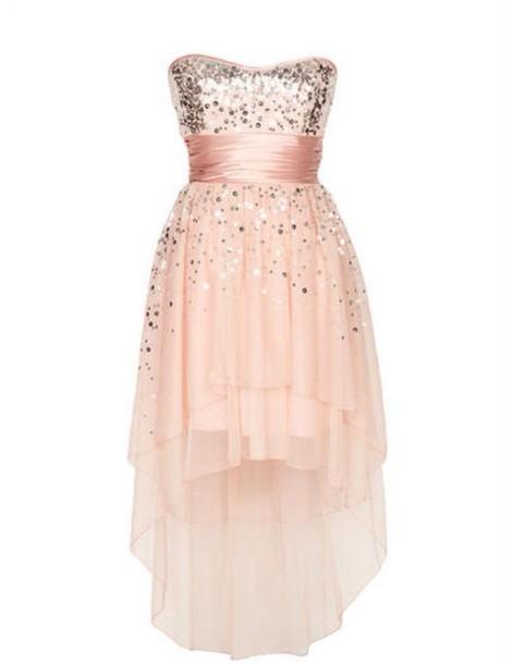 A Short High Low Pink Dress For A Winter Formal Dress Blush