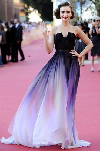 dress lilly collins purple dress ombre dress