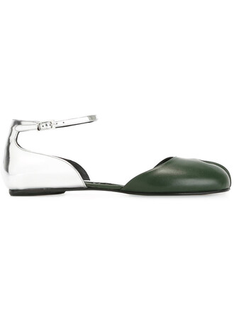 women leather green shoes