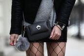 bag,tumblr,black bag,crossbody bag,chain bag,mini bag,bag accessoires,fur keychain,skirt,mini skirt,tights,fishnet tights,net tights,black watch,watch,bracelets