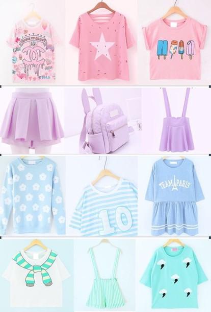 Shirt rainbows rainbow dope pastel kawaii skirt bag for Pastel pink dress shirt