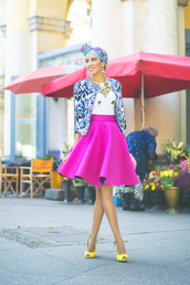macademian girl,blogger,jewels,jacket,pattern,neon,statement necklace,hair accessory,scarf,turban,top,skirt,bag,shoes,sunglasses
