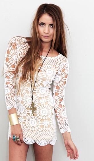 dress crochet dress boho cute dress white white dress bodycon crochet hippie hippie dress gypsy