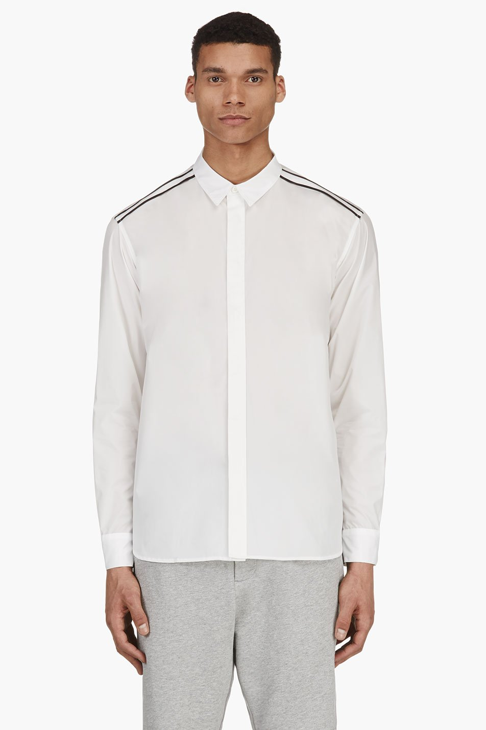 public school white nylon button down shirt