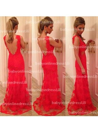 Discount New arrivals vestidos longo red evening dresses v neck backless sexy lace dress prom party dress 2014  BO3397 on sale at Weddingdressmore.com