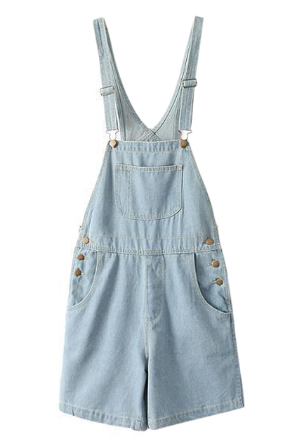 ROMWE | ROMWE Buttoned Pocketed Blue Denim Playsuit, The Latest Street Fashion