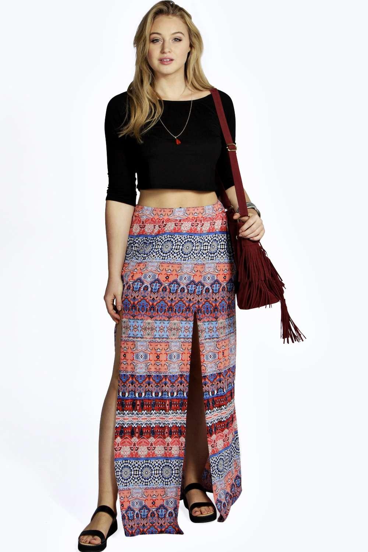 Freya Printed Double Slit Maxi Skirt
