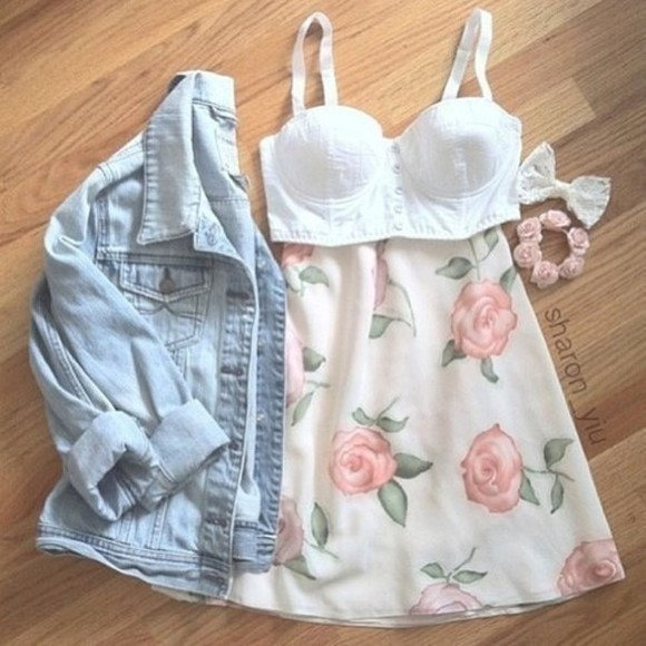 skirt floral highwaisted shorts tumblr hipster pastel jacket clothing fall clothes cute all cute outfits white crop top crop tops skater skirt skirts hair bow bows jeans jeans jacket denim denim jacket spring summer outfits summer outfits polyvore clothes flowers clothes bralet jean jacket girly urban