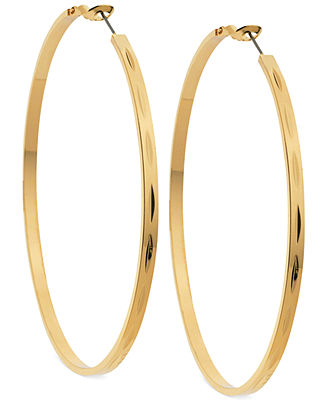 GUESS Gold-Tone Large Hoop Earrings - Fashion Jewelry - Jewelry & Watches - Macy's