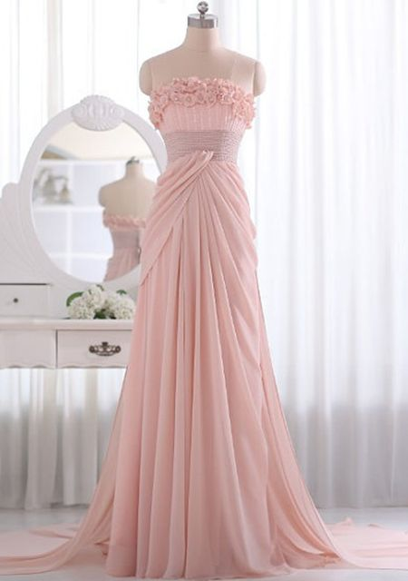 Women's flower strapless waist pink color long special occation dresses online