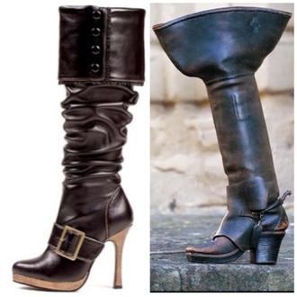 shoes steampunk victorian vintage old vintage old but handsome vintage brown leather boots brown leather over the knee boots black leather boots boots over the knee boots