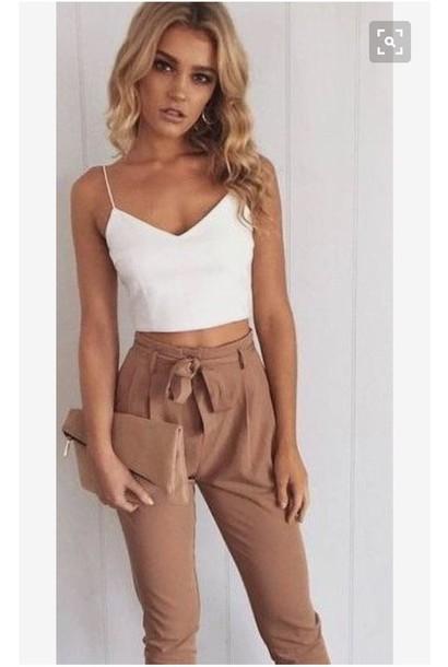 pants the pants and the top???!!! nude cute leggings paper bag paper bag trousers top