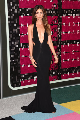 dress cut-out black dress maxi dress gown long dress prom dress lily aldridge vma