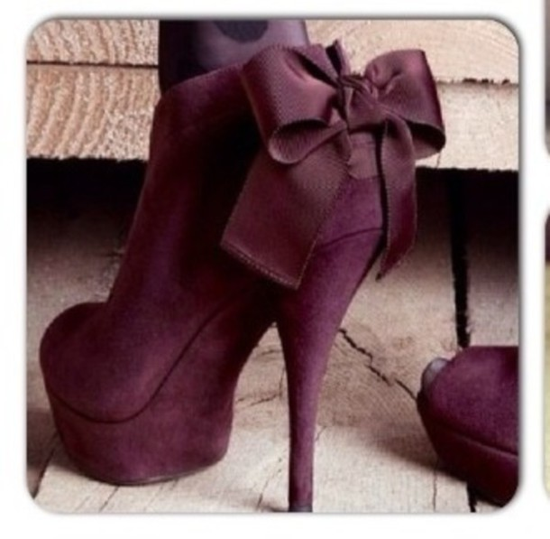 shoes high heels cute high heels prune purple shoes burgundy heels bows classy bow heels